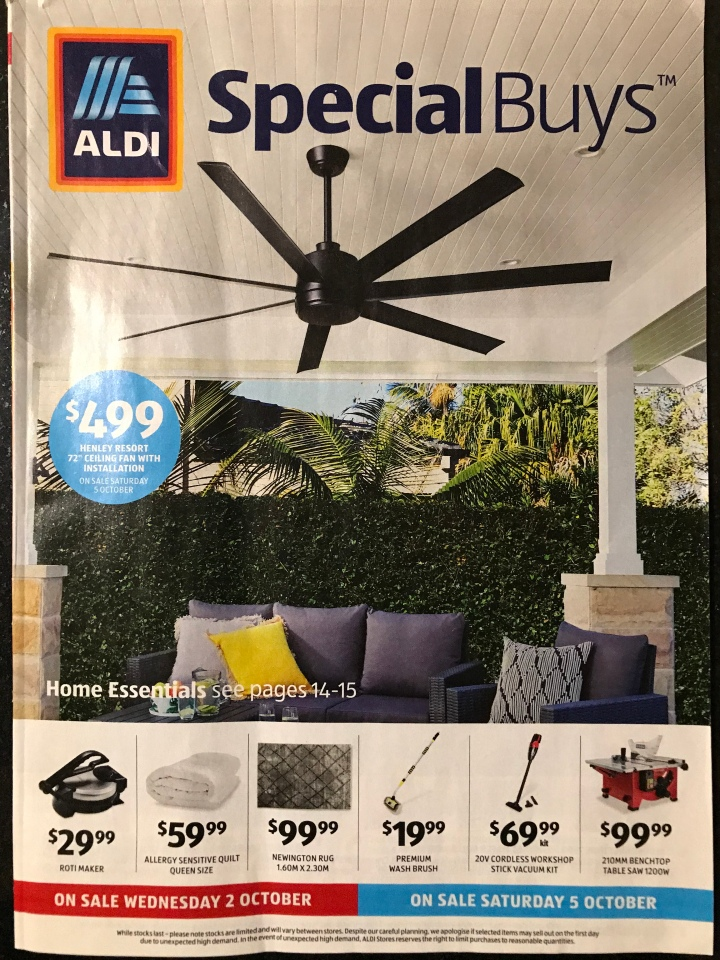Aldi Australia Catalogue Wednesday 2 October & Saturday 5 October 2019