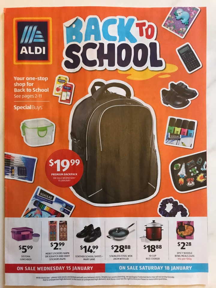 Aldi Australia Catalogue Wednesday 15 January (Back to School) & Saturday 18 January 2020