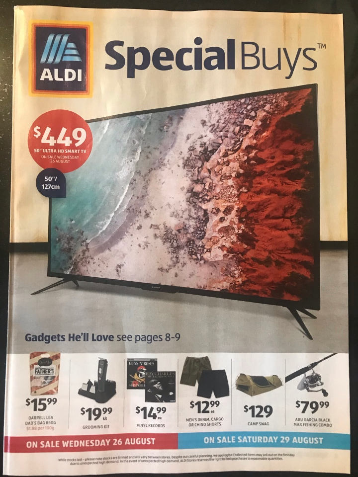 Aldi Australia Catalogue Wednesday 26 August & Saturday 29 August 2020